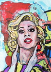 POP ART, Acryl auf Karton 24 x 36cm neuwertig, handsigniert